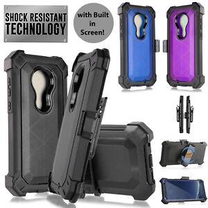For Motorola G7 Revvlry Plus G7 Shockproof Clip Holster Armor Case Built Screen