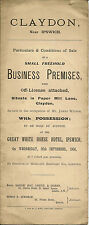 CLAYDON :1906- Business Premises in Paper Mill Lane- sale particulars