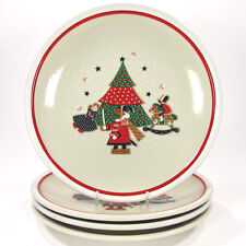 "Noritake Epoch HOLIDAY JOY 10.25"" Dinner Plate Set 4Pc 8200 Mint Christmas Tree"