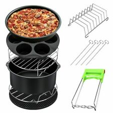 Air Fryer Frying Cage Dish Baking Pan Skewer Rack Pizza Tray Pot Accessories