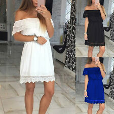 Sexy Womens Lady Off Shoulder Summer Mini Dress Lace Party Casual Short Dress BG