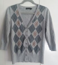 THE LIMITED WOMEN'S MEDIUM ARGYLE 3/4 SLEEVE GRAY BUTTON DOWN SWEATER CARDIGAN