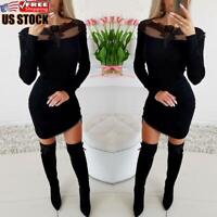 Women Lace Mesh Bodycon Mini Dress Long Sleeve Evening Party Cocktail Club Dress