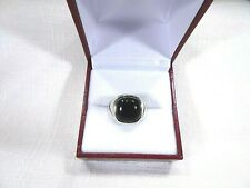 Men's Created Black Onyx Solid Sterling Silver Ring - Size 8 1/4
