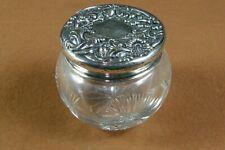 Antique Victorian Art Nouveau Repousse Sterling Silver Cut Glass Powder Jar