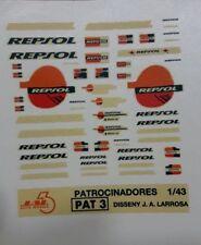 """DECAL CALCA 1/43 JUEGO DE LOGOS / LOGOS SET """"REPSOL"""" AÑOS 90s JAL43 (PAT 3)"""