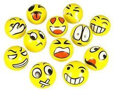 "12 PCS FUN EMOJI EMOTICON 3"" SQUEEZE BALLS STRESS RELIEVER GIFT TOY USA SELLER!!"