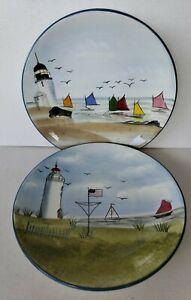 "2 Oneida Nantucket Shoreline Lighthouse 8 3/4"" Salad Plates Gracey Knight NEW"