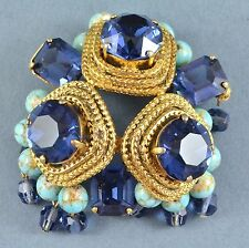 Vintage Brooch CHRISTIAN DIOR 1962 Blue Crystal Faux Turquoise Bridal Jewellery