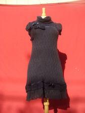 New Rinascimento Navy Blue Acrylic Wool Women Sweater Short Sleeve Dress S Italy