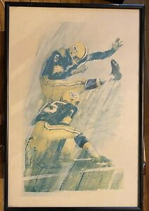 Rare Vtg Bart Starr Dedicated Autographed Green Bay Packers Lithograph Poster