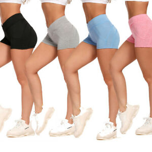 Womens Gym Yoga Shorts Plain Cycle Sports Fitness Stretch Pants Mini Shorts USA