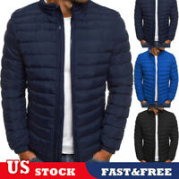 US Men Coat Lightweight Jacket Slim Fit Puffer Hooded Zipper Insulated Jacket