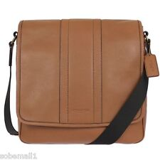 Coach Heritage Map Bombe Leather Saddle Brown Crossbody Messenger Bag F71641