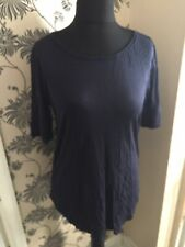 BNWOT Ladies H&M Basic Short Sleeve T-Shirt Top M 12/14 Navy Blue