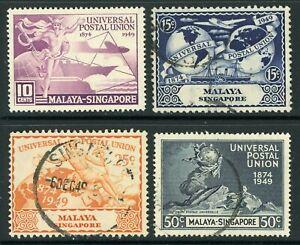 British QEII Singapore UPU Sc #23-26 Complete Set Postally Used Y495