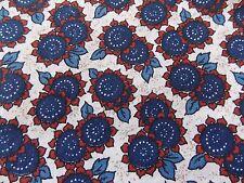 Estate Fabric Vintage Floral Flower Garden Retro Mod Blue Red Flour Feed Quilt