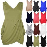 Plus Size Ladies Women Wrap Over Sleeveless Tunic Tulip Shape Mini Bodycon Dress