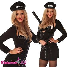 Sexy Woman Black Cop Police Uniform Hens Night Party Fancy Dress Costume Outfit