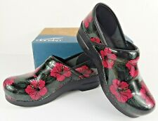 Dansko Professional Pink Hibiscus Patent Slip-on Clogs Womens Size EU39 US8