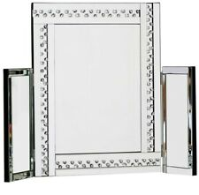 Large Glitz Silver Dressing Table Mirror All Glass 62cm Tall