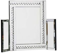 Large Glitz Silver Dressing Table Mirror ALL GLASS 62cm Tall