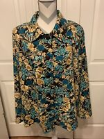 Joanna Women's Multicolor Floral Button Front Blouse Shirt Top Size XL