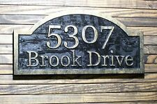 Address Sign Custom Carved Large Wood Plaque Antique Brass Finished