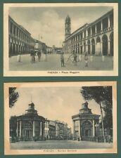 FAENZA, Ravenna. Piazza Maggiore. 2 cartoline d'epoca non viaggiate, circa 1930.