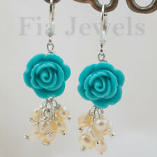 ORECCHINI perle rosa naturali e rose turchese EARRINGS pearls turquoise roses