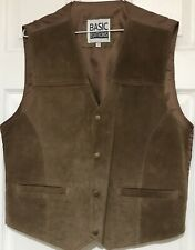 Vintage Suade Vest Brown Sz L Western Ranch Rockabilly Country