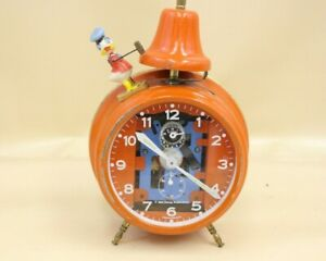 Vintage Disney Donald Duck Alarm Clock German Made By Bradley Orange Metal -M79
