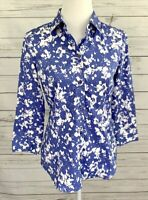 New York & Company Top Womens Medium M Blue Floral Button 3/4 Sleeve Collared
