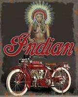 American Indian motorcycle vintage reproduction on 12x16 aluminum