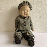 Antique/Vintage Cold-Press Composition Boy Doll Kind Haunted Blue Eyes Creepy