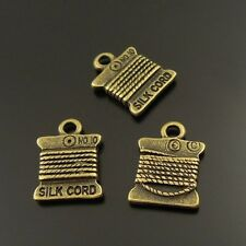 28pcs Antiqued Bronze Tone Alloy Silk Cord Spool Pendant Charms 11*10mm 20796