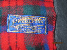 VINTAGE  PENDLETON RED PLAID WOOL STADIUM BLANKET W/CASE 78X54