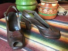 VINTAGE 1940's Brown Leather PEEP TOE PLATFORM HIGH HEEL SHOES 5-6