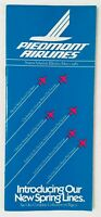Piedmont Airlines Timetable May 1, 1982. Very Good Condition!