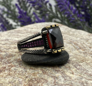 925 Sterling Silver Turkish Handmade Ottoman Amber Men's Luxury Ring All Size
