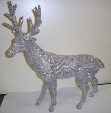 """New 18"""" Tall Standing Reindeer Figure Christmas Decoration 'Silver Bling'"""