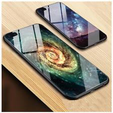 Glass Back Phone Galaxy Space Stars Cover Hard Rubber Case For iPhone 7 8 Plus X