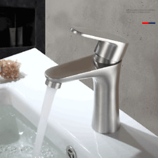Kitchen Bathroom Stainless Steel Brushed Basin Sink Faucet Single Hole Mixer Tap