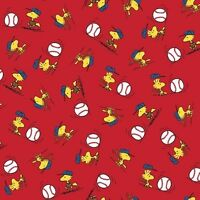 Snoopy Peanut All Stars Woodstock Toss Red 100% cotton fabric by the yard