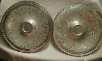 2 Vintage Rogers & Bros Silver Plate Round Serving Tray #1766 Raised Center