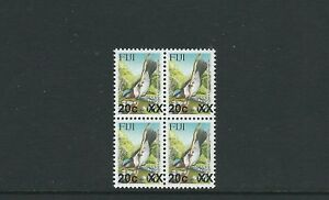 FIJI 2007 BIRD PROVISIONAL (Sc 1160 20c on 6c 4mm gap) VF MNH block of 4