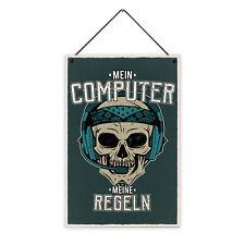 Computer Regeln 20 x 30 cm Holz-Schild 8 mm Spruch Motiv Geschenk Männer Gamer
