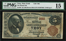 1882 $5 NBN Troy, New York Brown Back FR.467 Charter 992 - PMG 15
