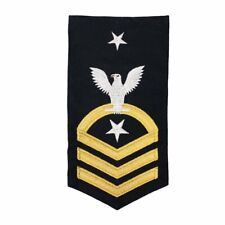 Navy E8 Male Rating Badge: Csc Command Senior Chief - Seaworthy Gold On Blue