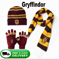 Harry Potter Gryffindor Thicken Knit Warm Scarf +Cap/Hat +Gloves Costume Gifts
